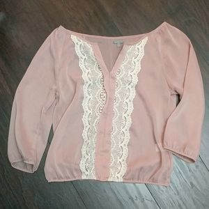 Charlotte Russe 3/4 Sleeve Blush Blouse